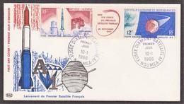 NOUMEA FDC Satellite A 1 Le 10/1/66 N° 84/85 PA ( Fusée Diamant) - Nouvelle-Calédonie