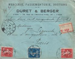 RHONE - LYON - LETTRE RECOMMANDEE CHARGEE DU 26-8-1911 - SEMEUSE - ENTETE MERCERIE DURET & BERGER LYON (P1). - Postmark Collection (Covers)