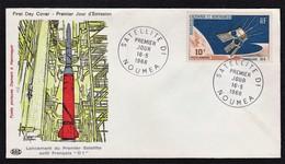NOUMEA FDC Satellite D 1 Le 16/5/66 N° 87 PA ( Fusée Diamant) - Nouvelle-Calédonie