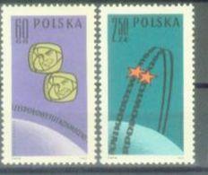 PL 1962-1350-1 SPACE, POLAND, 1 X 2v, MNH - Space