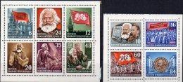 Karl Marx Jahr 1953 DDR 2 Kleinbogen 386/5 A Aus Block 8+9 ** 160€ Perforiert Hb Ss Blocs History Sheets Bf Germany - DDR