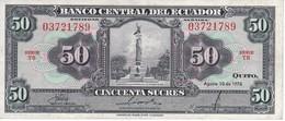 BILLETE DE ECUADOR DE 50 SUCRES DEL AÑO 1976 EN CALIDAD EBC (XF) (BANK NOTE) - Ecuador