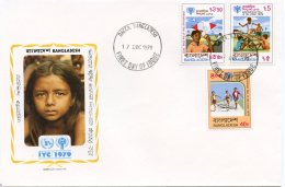Bangladesh, 1979, International Year Of The Child, IYC, United Nations, FDC, Michel 128-130A - Bangladesh