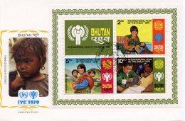 Bhutan, 1979, International Year Of The Child, IYC, United Nations, FDC, Michel Block 83A - Bhoutan