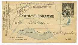 Service Télégraphique   PARIS  1884 / CARTE TELEGRAMME  30c   Utilisation Des Tubes Pneumatiques - Postmark Collection (Covers)