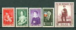 Saar 1954/1955 Yv. 334/36**, 339**, 342**, Mi 354/56**, 357**, 361** MNH - 1947-56 Occupation Alliée