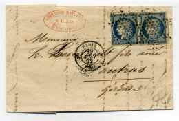 CERES YTN°4 En Paire Sur Lettre De PARIS Pour COUTRAS / Cad  PARIS 3E Route N°10 + étoile Pleine  / 19 Aout 1852 - 1849-1876: Période Classique
