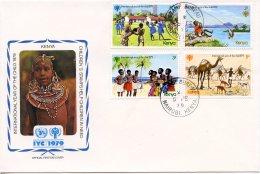 Kenya, 1979, International Year Of The Child, IYC, United Nations, FDC, Michel 135-138 - Kenya (1963-...)