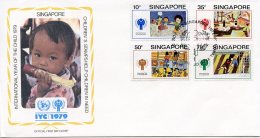 Singapore, 1979, International Year Of The Child, IYC, United Nations, FDC, Michel 335-338 - Singapour (1959-...)