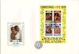 Solomon Islands, 1979, International Year Of The Child, IYC, United Nations, FDC, Michel Block 7 - Salomon (Iles 1978-...)