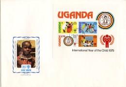 Uganda, 1979, International Year Of The Child, IYC, United Nations, FDC, Michel Block 16 - Uganda (1962-...)