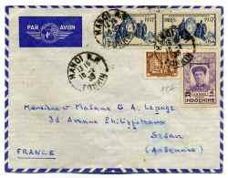 Lettre De HANOI Par Avion, Avec Affranchissement Composé / TONKIN /  1939 - Indochine (1889-1945)