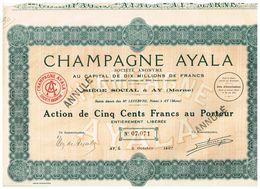 Ancienne Action - Champagne Ayala - Titre De 1927 - Industrie