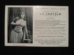 CPA BEZIERS LA VESTALE MME GEORGETTE BASTIEN (34 HERAULT) PUBLICITE GRAND CAFE GLACIER BEZIERS FELIX VALETTE PROPIETAIRE - Beziers