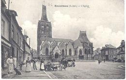 76 - ENVERMEU - Devant L'Eglise, Animation Avec Attelages Humain Et Chiens - Carte Datée Au Dos Du 8 Juillet 1908 - - Envermeu