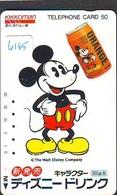 Télécarte Japon *  110-39412 - DISNEY - MICKEY / Boisson Kikkoman Jus D'orange  (6165)  Japan Phonecard Telefonkarte - Disney