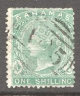 BAHAMAS  Qn Victoria  1/- Wm Crown CC, Perf 14  SG 39 Used - 1859-1963 Crown Colony