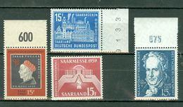 Saar 1959 Yv. 427/430**, Mi 445/448** MNH - 1957-59 Fédération