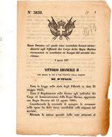 1867 DECRETO COL QUALE  SONO ACCORDATE LICENZE AGLI UFFICIALI DELLA MARINA - Decreti & Leggi