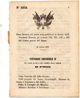 1870  DECRETO  ROMA - Decreti & Leggi
