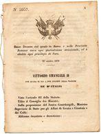 1870  DECRETO  ROMA E' ABOLITO OGNI PRIVILEGIO DI FORO - Decreti & Leggi