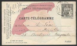 FRANCE 1884 30c Telegramme Postcard Used...................................47857 - 1877-1920: Semi Modern Period
