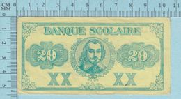 1920, Monnaies Scolaires Billet 20$ Quebec Canada (Armes De La Province, Par Frères Des Écoles Chrétiennes )recto/Verso - Monnaies & Billets