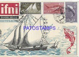 89880 AFRICA MOROCCO SIDI IFNI YEAR 1958 STAMPS SHIP & FISH NO POSTAL POSTCARD - Otros - África