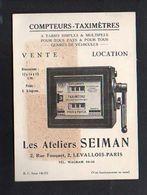 """Carte De Visite Publicitaire / Compteurs,Taximètres """"Les Ateliers Seiman """" Rue Fouquet à Levallois-Paris - Visiting Cards"""