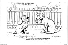 BENJAMIN RABIER  -  FABLES DE LA FONTAINE : LE LOUP ET LE CHIEN   - A100-17 - Rabier, B.