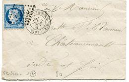 LOIR ET CHER De MONTOIRE SUR LE LOIR GC 2500 Sur N°60 Sur Env. Du 02/08/1874+ Boîte Rurale E Non Identifiée - 1849-1876: Periodo Clásico