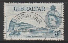 Gibraltar 1953 Queen Elizabeth II 3 P Blue SW 137 O Used - Gibraltar