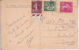 1923 - TIMBRE SEMEUSE AVEC DATE ET CACHET GIRONDE  SUR CPA - NANTES - Variedades Y Curiosidades