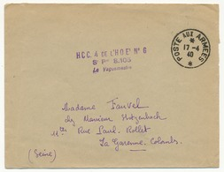 """FRANCE - Enveloppe - Cachet """"HCC 4 De L'H.O.E2 N°6 - S.P. 8 105 - Le Vaguemestre (poste Aux Armées 1940) - Marcophilie (Lettres)"""