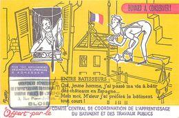 VP-GF.18-234 : BUVARD. ENTRE BATISSEURS. METIER DU BATIMENT. MACON - Buvards, Protège-cahiers Illustrés