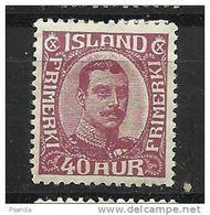 Iceland 1920     Mino 94 MLH * - Nuovi