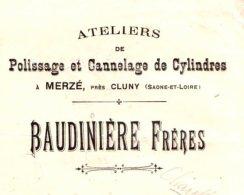 BAUDINIERE  Polissage & Cannelage De Cylindres  Merzé Près CLUNY  (Saone & Loire)  1910 - Bills Of Exchange