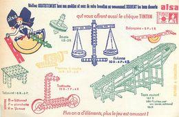 VP-GF.18-249 : BUVARD. LES BONS DESSERTS ALSA. CHEQUE TINTIN. JEU DE CONSTRUCTION. - Buvards, Protège-cahiers Illustrés