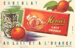 VP-GF.18-254 : BUVARD. CHOCOLAT MENIER. LAIT ORANGE. ILLUSTRATION DE A.HELBE.  CHAT. - Cocoa & Chocolat