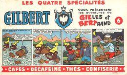 VP-GF.18-264 : BUVARD. LES QUATRE SPECIALITES GILBERT  GILLES ET BERTRAND. CAFE THE DECAFEINE CONFISERIE - Buvards, Protège-cahiers Illustrés