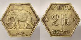 2 Francs 1943 Leopold III Of Belgium 1934 - 1950 Belgian Congo Elephant #3147 - Congo (Belga) & Ruanda-Urundi
