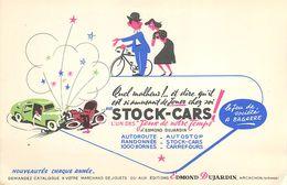 VP-GF.18-268 : BUVARD. JEU EDMOND DUJARDIN. ARCACHON. GIRONDE.  AUTOMOBILE. STOCK-CARS. - Buvards, Protège-cahiers Illustrés