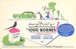 VP-GF.18-270 : BUVARD. JEU EDMOND DUJARDIN. ARCACHON. GIRONDE.  AUTOMOBILE.  LA PANNE. MILLE BORNES.  VILPRE - Buvards, Protège-cahiers Illustrés