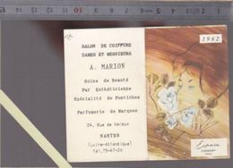 Calendrier  Parfumé - Petit Format - 1962 - Parfum Espace De Cheramy - Coiffeur Marion, Nantes - Calendriers