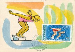 D32904 CARTE MAXIMUM CARD 1968 HUNGARY - RINGS OLYMPICS MEXICO SWIMMING START CP ORIGINAL - Summer 1968: Mexico City