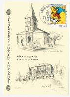 CPM 10.5 X 15 Isère TULLINS  Fête Du Timbre 11 Et 12 Mars 2000 Tintin Et Milou Eglise Et Mairie Illustrateur* - Tullins