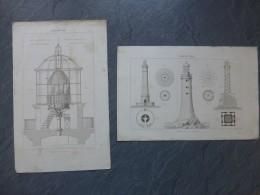 PHARE (Marine) Lot De 2 Gravures , Gravure Originale Vers 1850 15x23 Cm ; Ref 454VP39 - Prenten & Gravure
