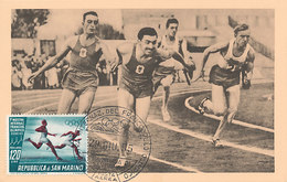 D32908 CARTE MAXIMUM CARD 1955 SAN MARINO - ATHLETICS RUNNING RELAY OLYMPICS RINGS CP ORIGINAL - Athletics
