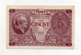 """Italia - Luogotenenza - Biglietto Di Stato Da Lire 5 """" Atena Elmata """" - Decreto 23.11.1944 - (FDC8515) - Italia – 5 Lire"""