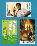 3 Télécarte Japonaise. Publicité.  Boisson.  Boissons Diverses. - Lebensmittel